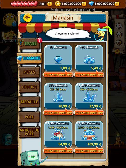 Astuces Adventure Time Run diamants gratuits pièces de monnaie illimitées